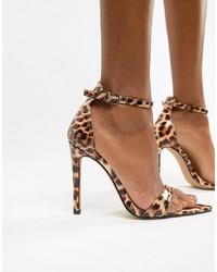 Sandales à talons en cuir imprimées léopard tabac Public Desire