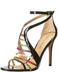 Sandales à talons en cuir imprimées multicolores