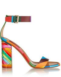 Sandales à talons en cuir imprimées multicolores Valentino