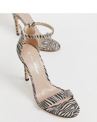 Sandales à talons en cuir imprimées noires Miss Selfridge