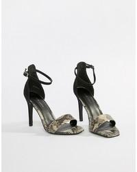 Sandales à talons en cuir imprimées noires New Look
