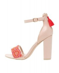 Sandales à talons en cuir imprimées roses Dorothy Perkins