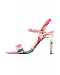 Sandales à talons en cuir imprimées roses Versace
