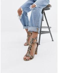 Sandales à talons en cuir imprimées serpent beiges SIMMI Shoes