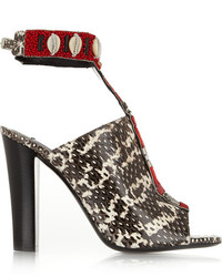 Sandales à talons en cuir imprimées serpent blanches et noires Altuzarra