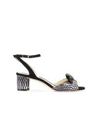 Sandales à talons en cuir imprimées serpent blanches et noires Sarah Flint