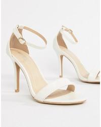 Sandales à talons en cuir imprimées serpent blanches Glamorous