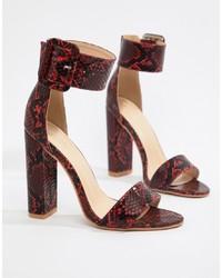 Sandales à talons en cuir imprimées serpent bordeaux PrettyLittleThing
