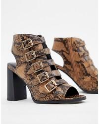 Sandales à talons en cuir imprimées serpent brunes New Look