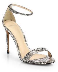 Sandales à talons en cuir imprimées serpent grises