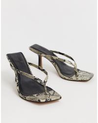 Sandales à talons en cuir imprimées serpent grises ASOS DESIGN