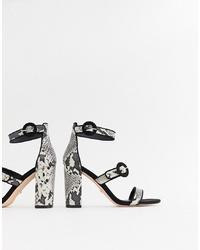 Sandales à talons en cuir imprimées serpent grises Faith