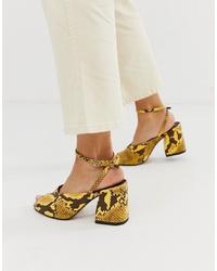 Sandales à talons en cuir imprimées serpent jaunes ASOS DESIGN