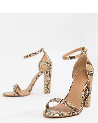 Sandales à talons en cuir imprimées serpent marron clair ASOS DESIGN
