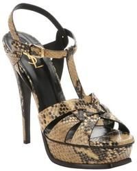 Sandales à talons en cuir imprimées serpent marron