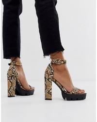 Sandales à talons en cuir imprimées serpent marron SIMMI Shoes