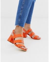 Sandales à talons en cuir imprimées serpent orange Miss Selfridge