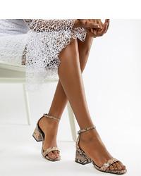 Sandales à talons en cuir imprimées serpent tabac ASOS DESIGN