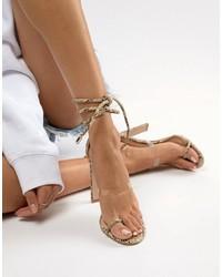 Sandales à talons en cuir imprimées serpent transparentes SIMMI Shoes