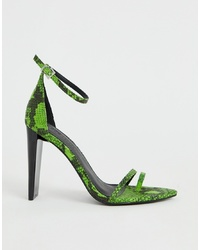 Sandales à talons en cuir imprimées serpent vertes ASOS DESIGN