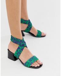 Sandales à talons en cuir imprimées vertes ASOS DESIGN
