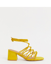 Sandales à talons en cuir jaunes ASOS DESIGN