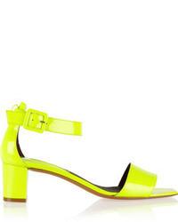 Sandales à talons en cuir jaunes Bruno Magli