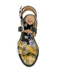 Sandales à talons en cuir jaunes Toga Pulla