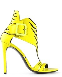 Sandales à talons en cuir jaunes Gianmarco Lorenzi