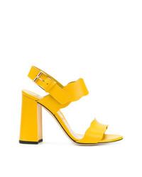 Sandales à talons en cuir jaunes Marskinryyppy