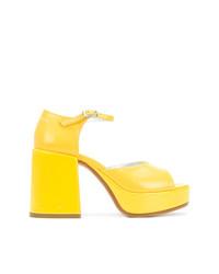 Sandales à talons en cuir jaunes MM6 MAISON MARGIELA