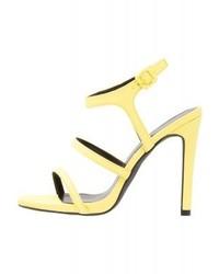 Sandales à talons en cuir jaunes New Look