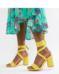 Sandales à talons en cuir jaunes Park Lane
