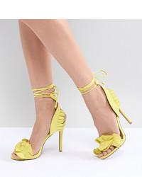 Sandales à talons en cuir jaunes Qupid