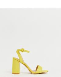 Sandales à talons en cuir jaunes Raid Wide Fit