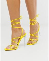 Sandales à talons en cuir jaunes SIMMI Shoes