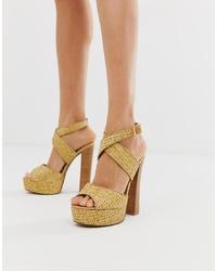 Sandales à talons en cuir marron clair ASOS DESIGN