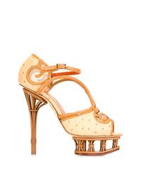 Sandales à talons en cuir marron clair Charlotte Olympia