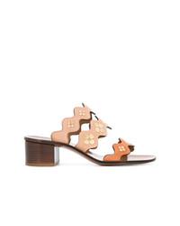 Sandales à talons en cuir marron clair Chloé