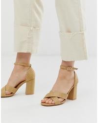 Sandales à talons en cuir marron clair Glamorous
