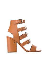 Sandales à talons en cuir marron clair Laurence Dacade
