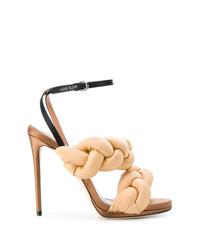 Sandales à talons en cuir marron clair Marco De Vincenzo
