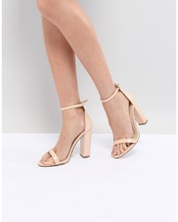 Sandales à talons en cuir marron clair Missguided