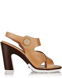 Sandales à talons en cuir marron clair Tod's