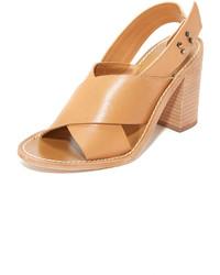 Sandales à talons en cuir marron clair Zimmermann