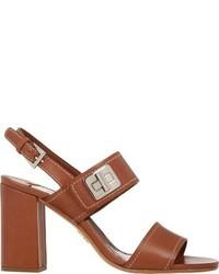 Sandales à talons en cuir marron