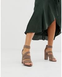 Sandales à talons en cuir marron ASOS DESIGN