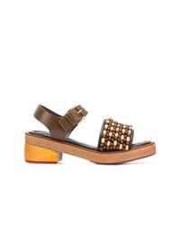 Sandales à talons en cuir marron Marni