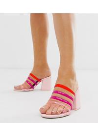 Sandales à talons en cuir multicolores ASOS DESIGN