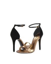 Sandales à talons en cuir noir et doré